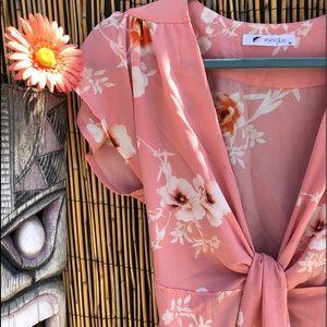 Floral Deep V Neck Mini Dress